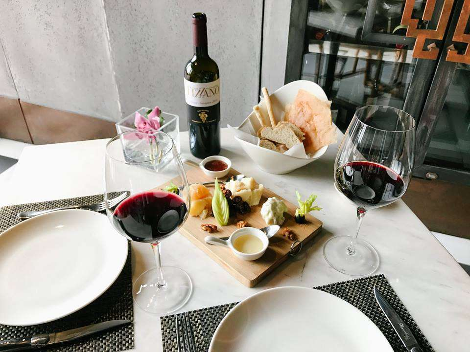 A wine and cheese platter at Caffe B restaurant in Macau.