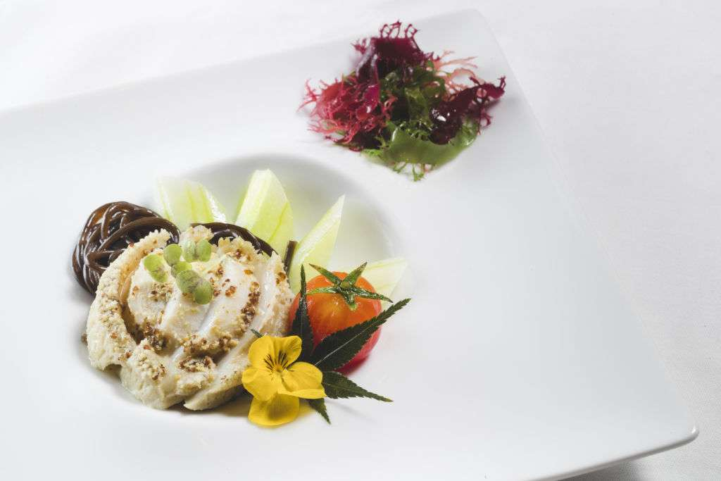 Chef de Cuisine Ming Lam's chilled fresh abalone with plum wine and fern root noodles