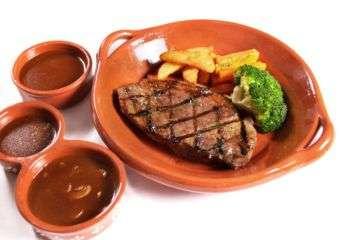 Steak frites dish at Flamingo restaurant in Regency Art Hotel in Macau