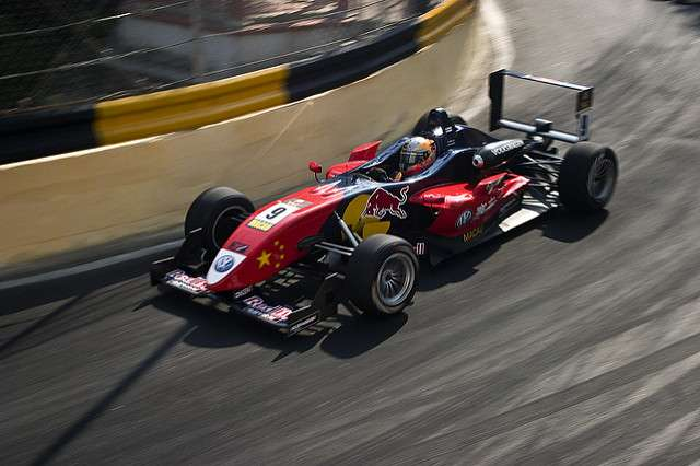 Race car on racecourse at Macau Grand Prix