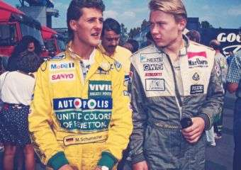 Michael Schumacher talks with Mikka Hakkinen in Macau.
