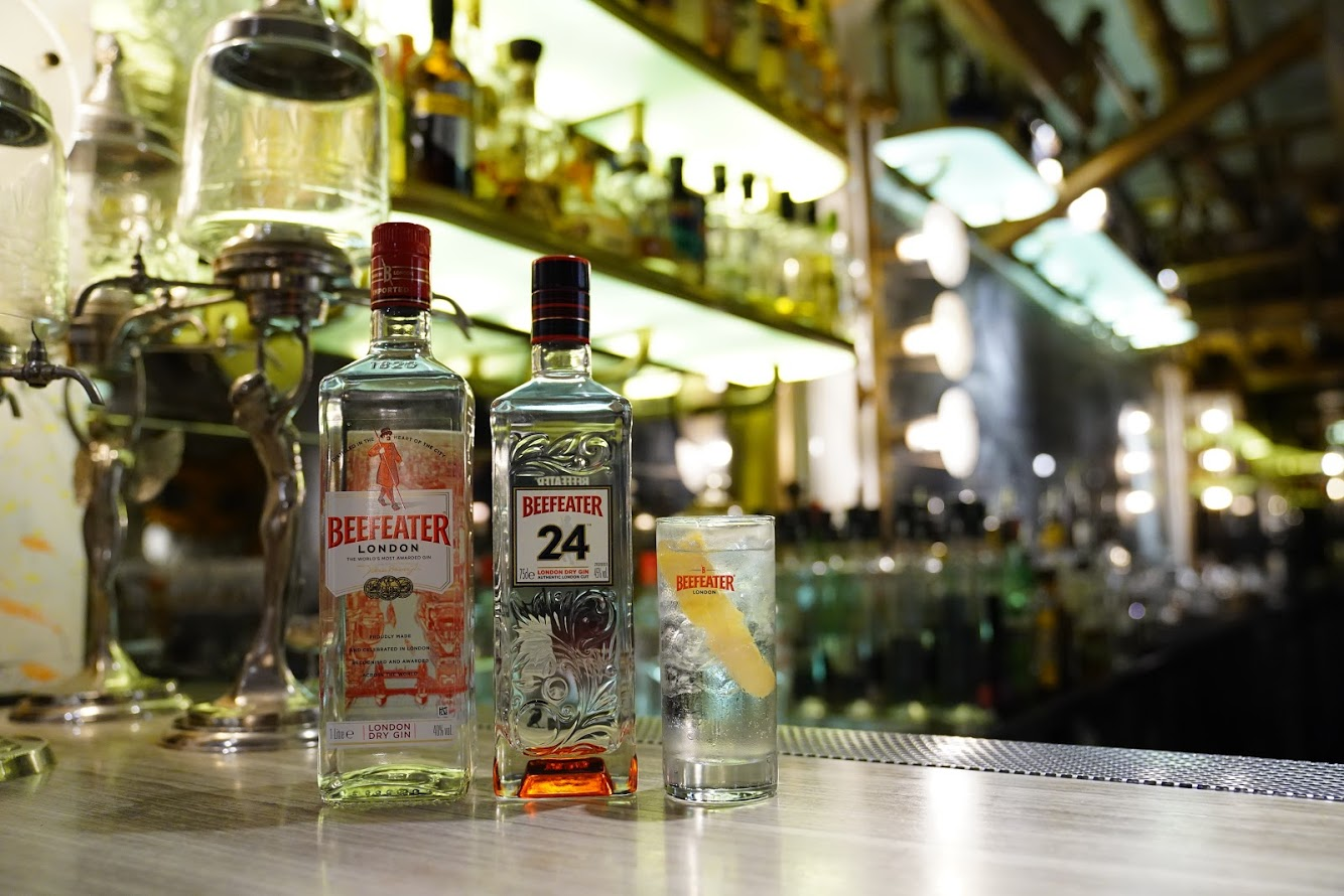Two bottles of Beefeater gin