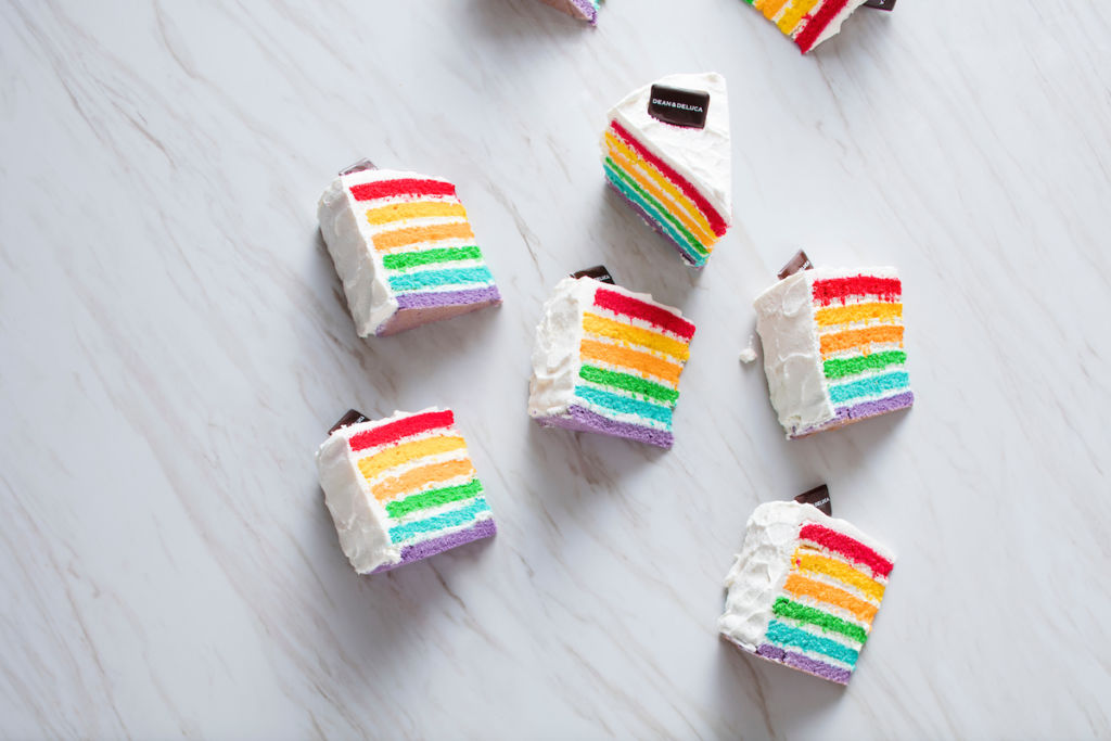 Multi-colored cake slices from Dean & Deluca