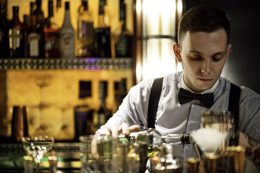 Bartender at Vida Rica bar in Mandarin Oriental in Macau