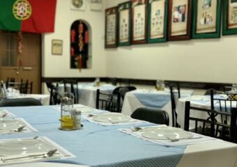 O Santos Restaurant Indoors Tables Upstairs with Portuguese Flag on the Wall Macau Lifestyle