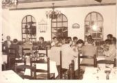 Old photo of dining room at Fat Siu Lau restaurant in Macau