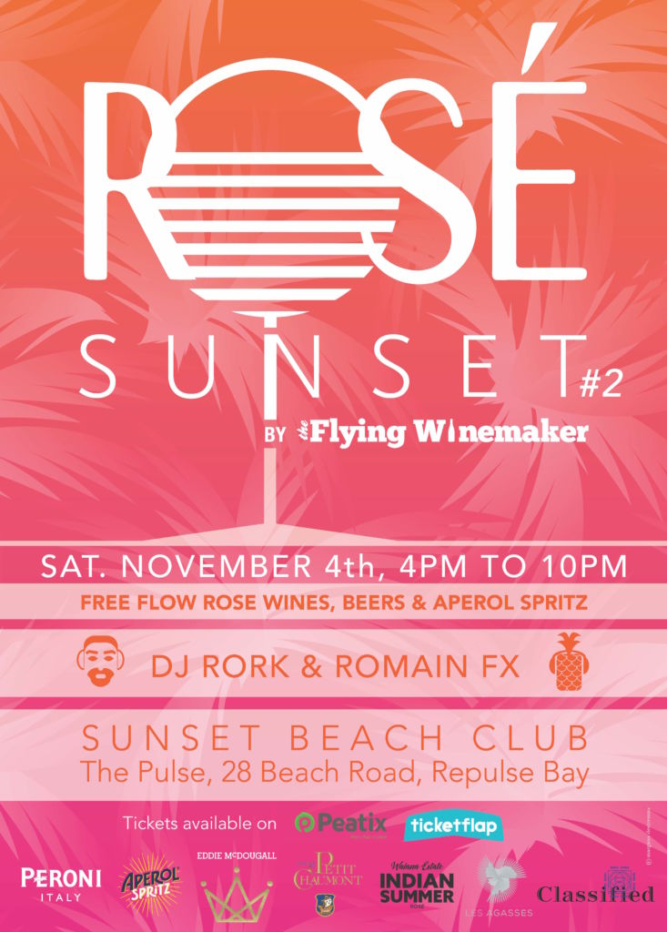 poster advertising Rosé Sunset by The Flying Winemaker