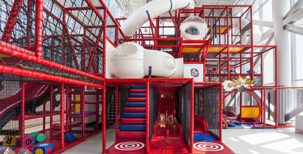 The large red playground area at Kids City at City of Dreams in Macau