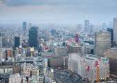 an aerial view of the skyline of the japanese city of osaka