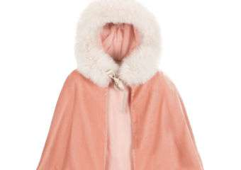 A pink-colored hooded throwover with fur lining.