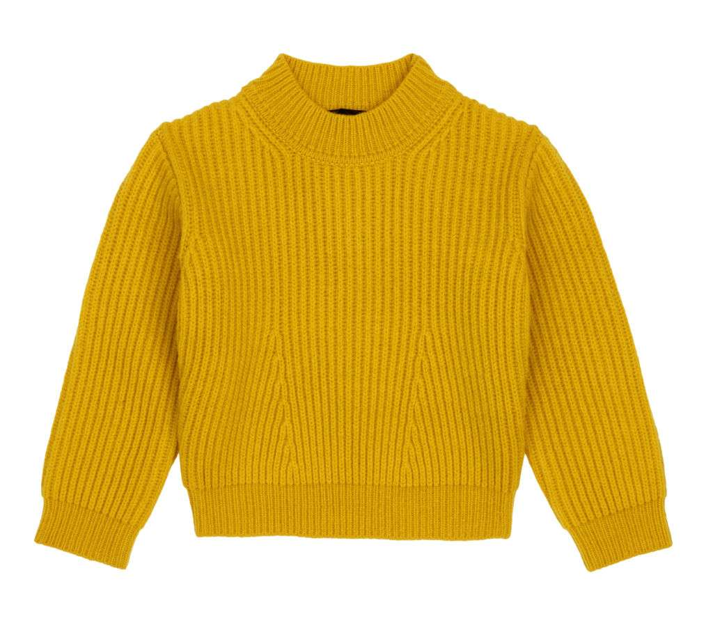 A mustard yellow cable knit sweater.