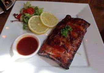 M2 Kitchen grilled baby pork ribs with bbq sauce
