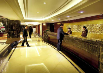 Reception desk and lobby at President Hotel in Macau