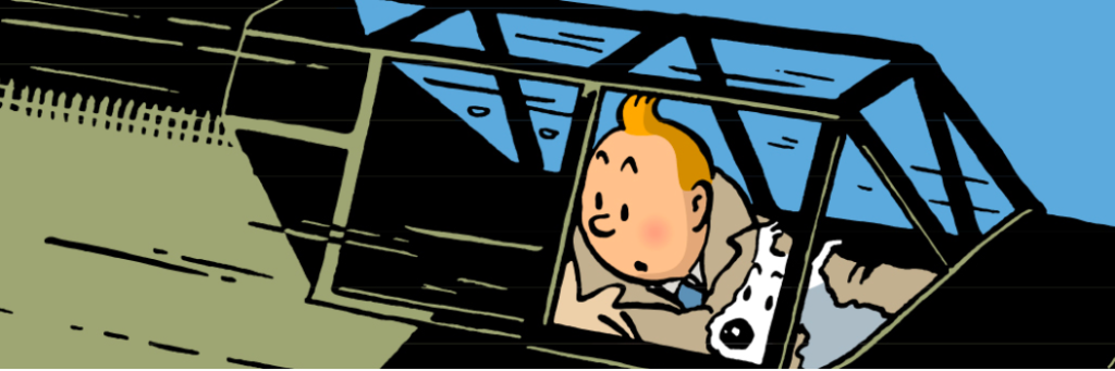 A picture of Tintin and his dog Snowy in an airplane.