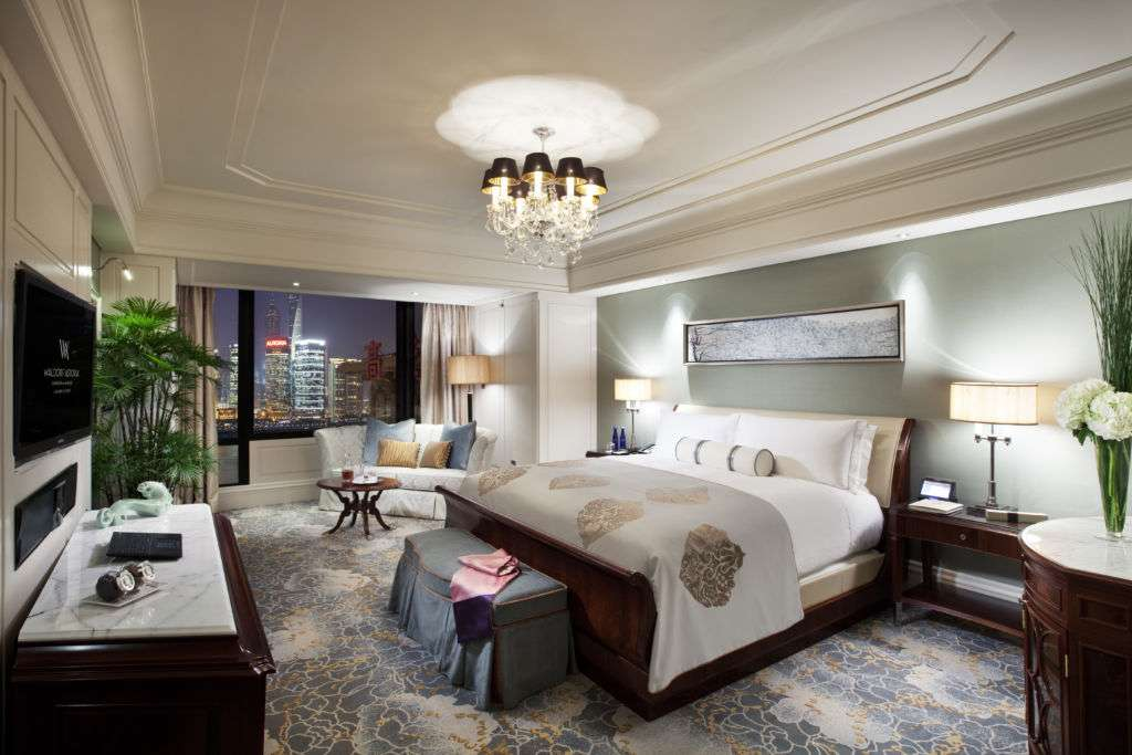 A guest room at the Waldorf-Astoria in Shanghai