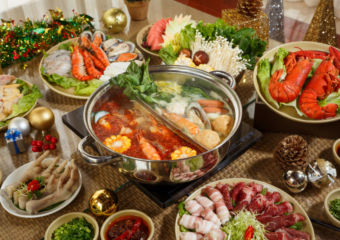 A hotpot with various ingredients.