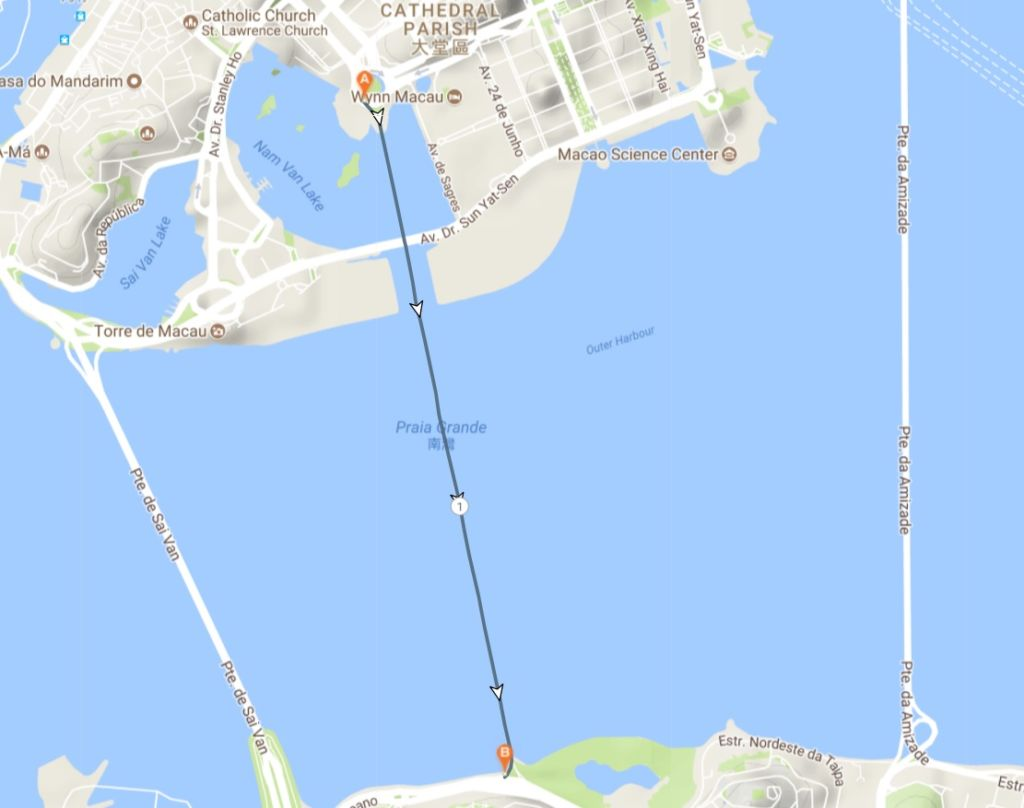 Map showing running course from Macau peninsula across bridge to Taipa.