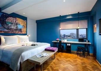 A guest room in Hotel G in Yangon, Myanmar