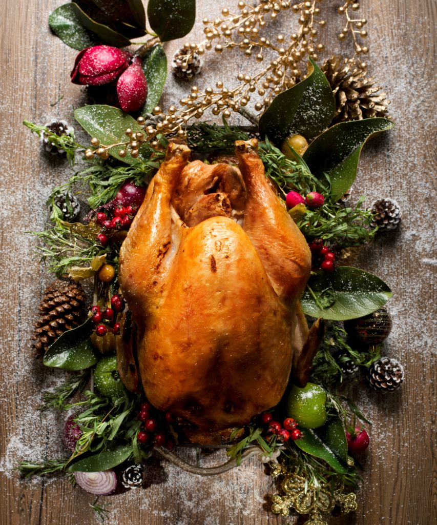 A roasted turkey shot from above and nestled in holiday greenery.