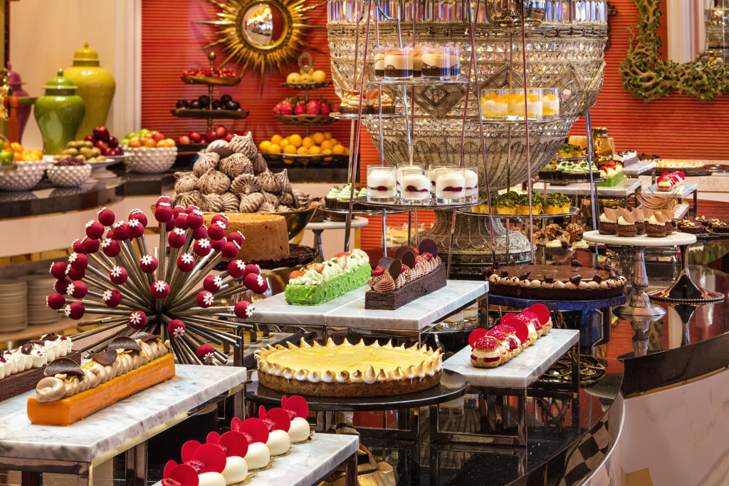 An array of chocolates and other sweets at a buffet.