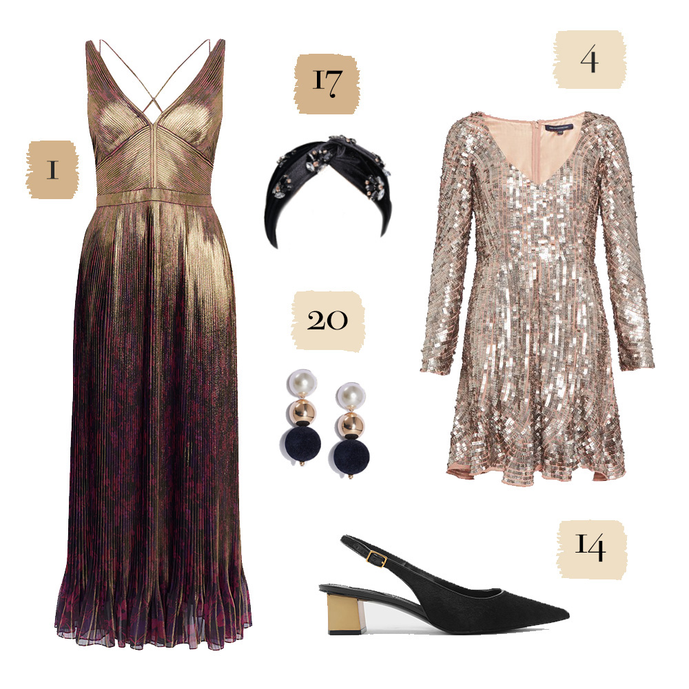 Pink and purple tinted dresses, shoes, and jewelry
