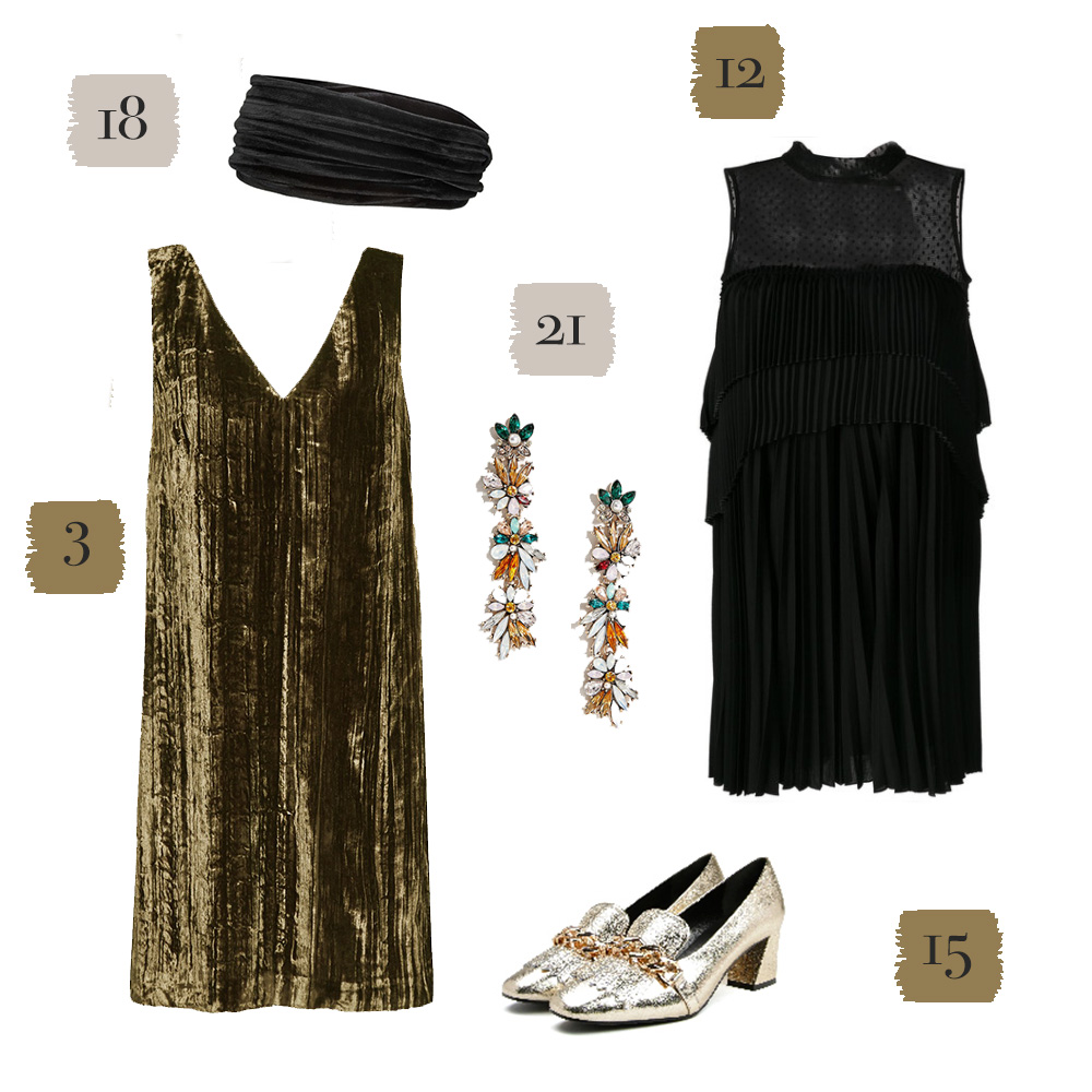 Gold and black dresses, shoes, and jewelry