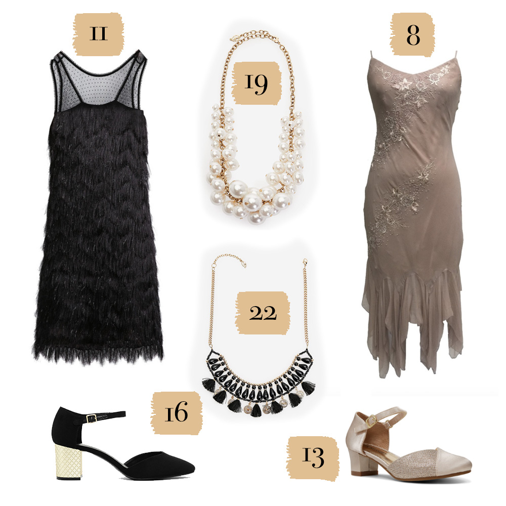A selection of shoes, dresses, and jewelry