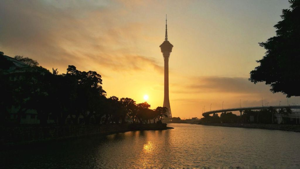 Macau Tower at sunrise.