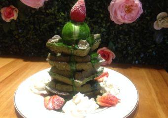 Peace of Cake strawberry matcha waffles