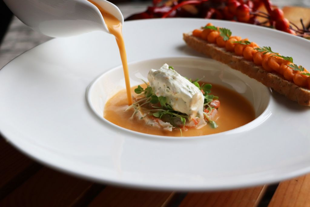 Sofitel Macau Prive-Lobster Bisque with Boiled Shrimp Tartar, Citrus Cream