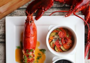 Sofitel Macau Prive-Pan-fried Lobster with Squid Ink Risotto Ratatouille,Lobster Bisque
