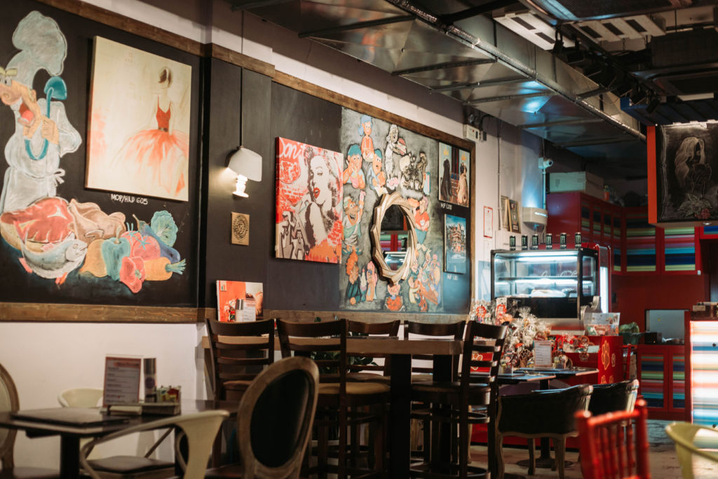 LAX Cafe Indoor Wall Paintings and Chairs Macau Lifestyle