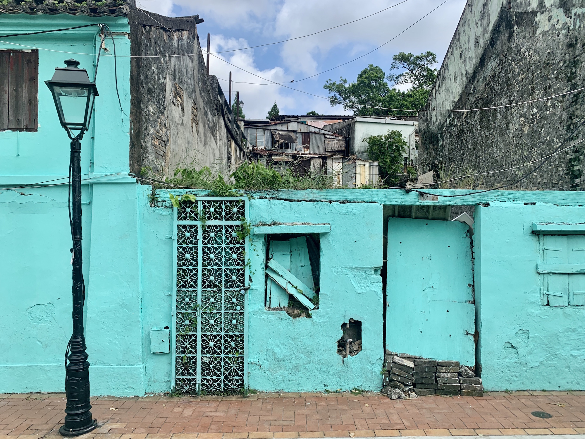 Old Blue Buildings Exterior in Taipa Village Macau Lifestyle