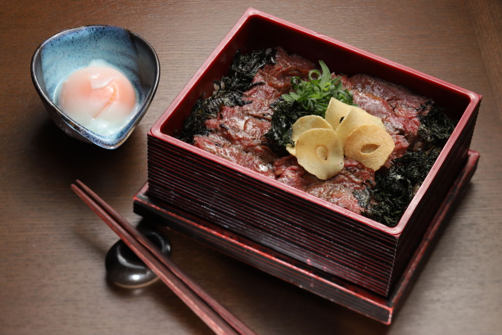 Marble Australian wagyu beef harami with Japanese rice