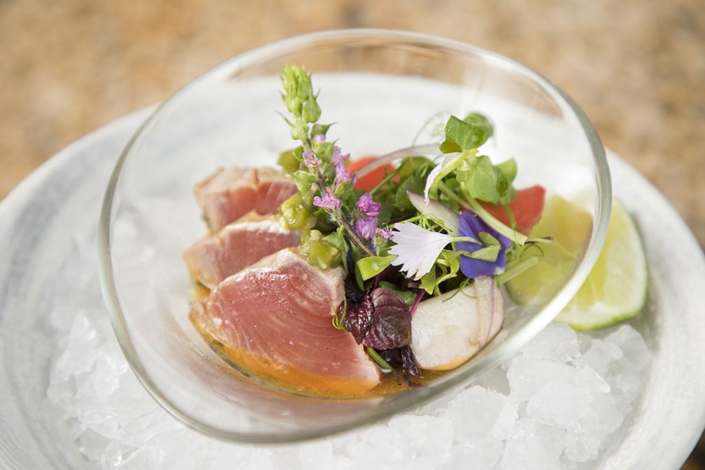 Zuma's smoked katsuo with wasabi ponzu and pickled seasonal vegetables. Image Courtesy of Zuma Hong Kong