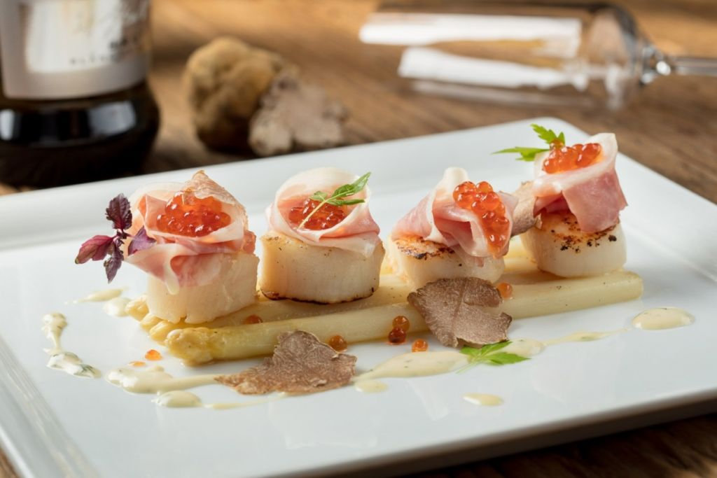 poached white asparagus, seared hokkaido scallops, guanciale cured pork ...