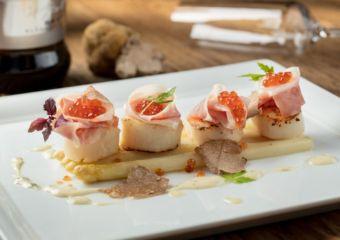 poached white asparagus, seared hokkaido scallops, guanciale cured pork ...