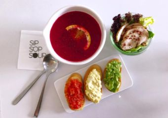 sip sop soup macau food presentation table