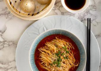 Crystal-Jade-Szechuan-Dan-Dan-La-Mian-peanut-with-Chilli-Oil-and-Steamed-Shanghai-Xiao-Long-Bao