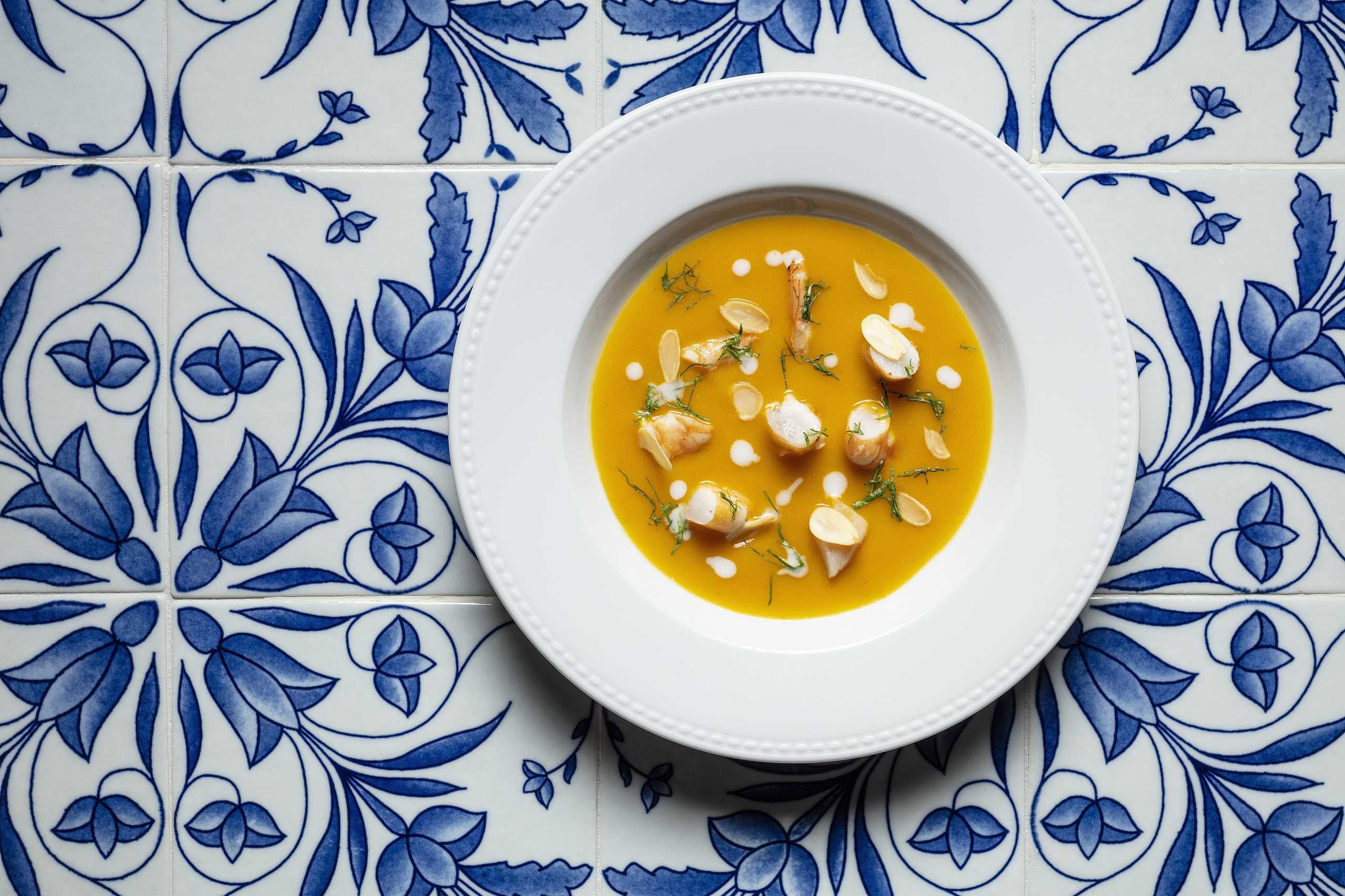 Sands Cotai Central Chiado portuguese restaurant Roasted pumpkin soup with coconut cream, prawns and almonds