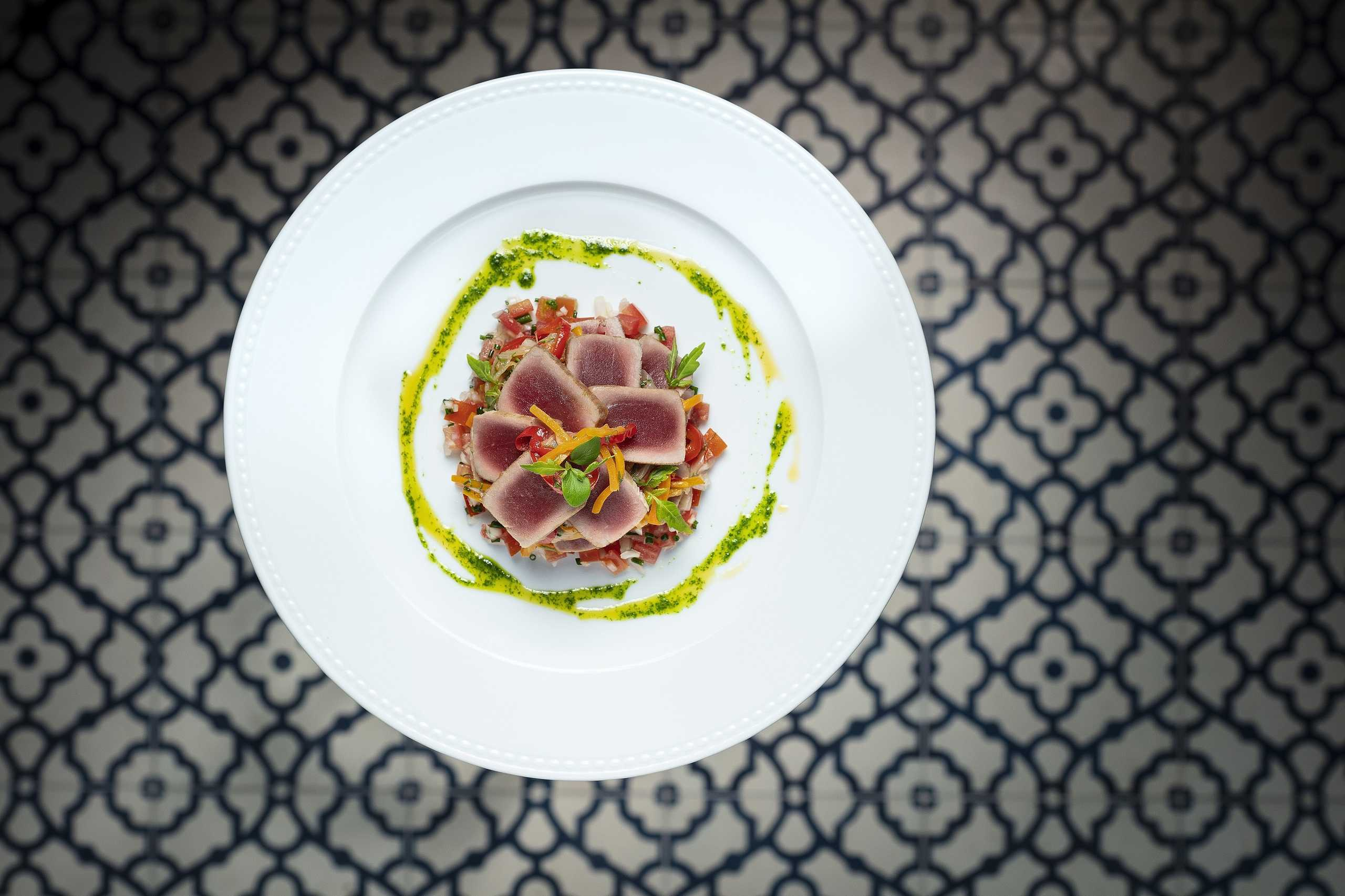 Tuna tataki with vegetable escabeche and tomato tartare