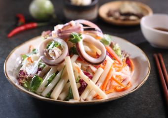 Vietnamese Pop Up La'taste Lotus Stem & Squid Salad (spicy)