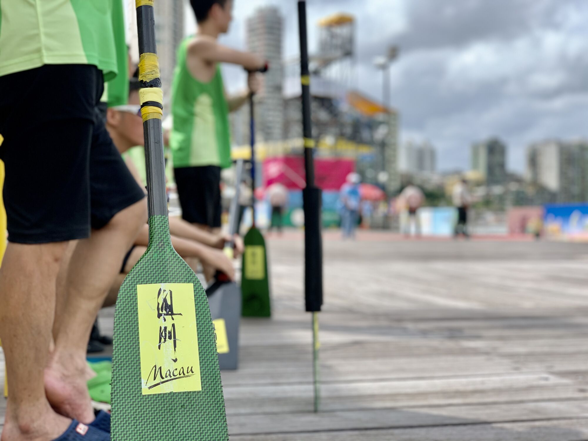 Macao Dragon Boat Races people with Paddles Macau Lifestyle