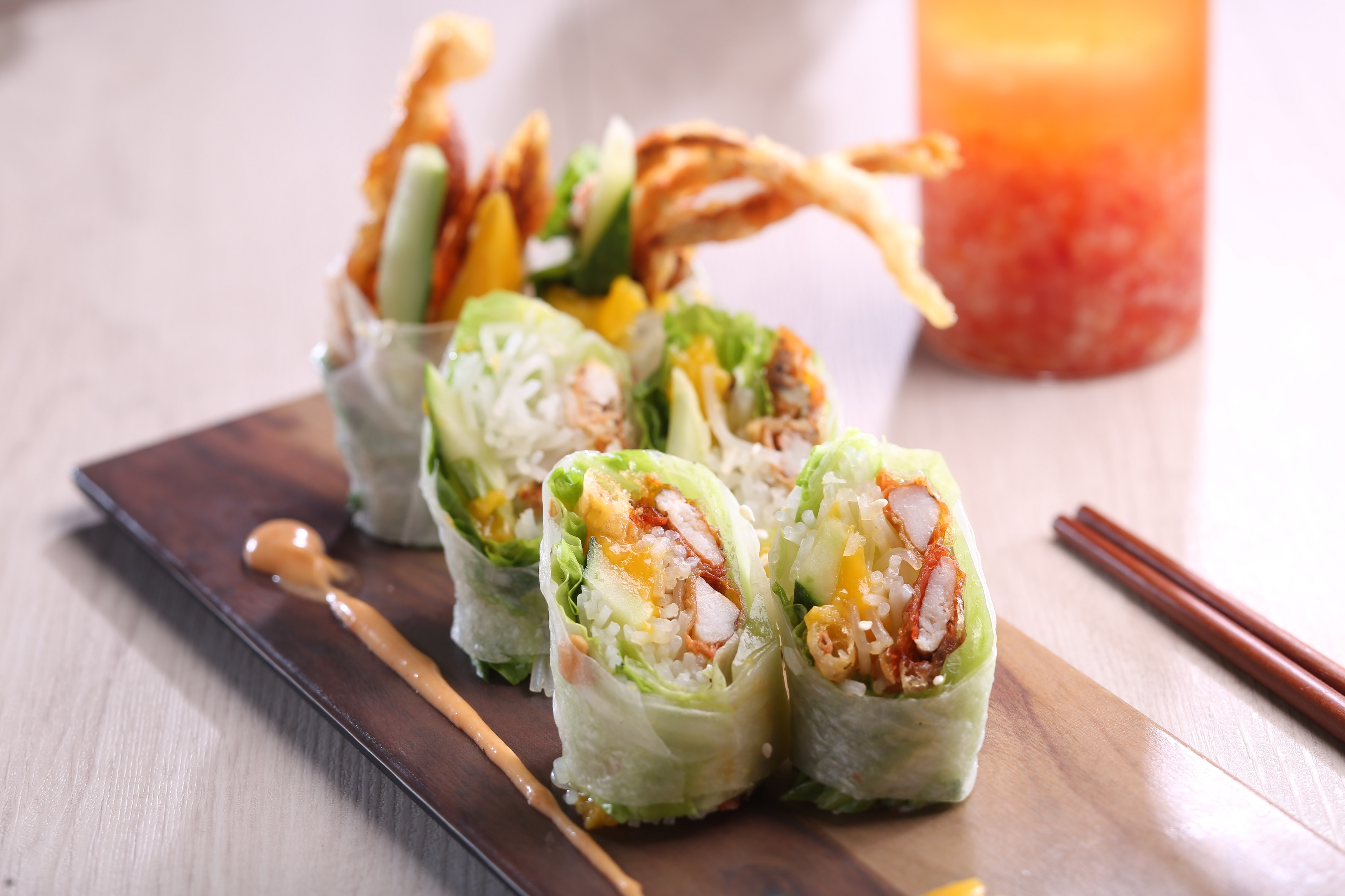 Vietnamese Pop Up La'taste Soft Shell Crab with Fresh Mango Rice Paper Rolls