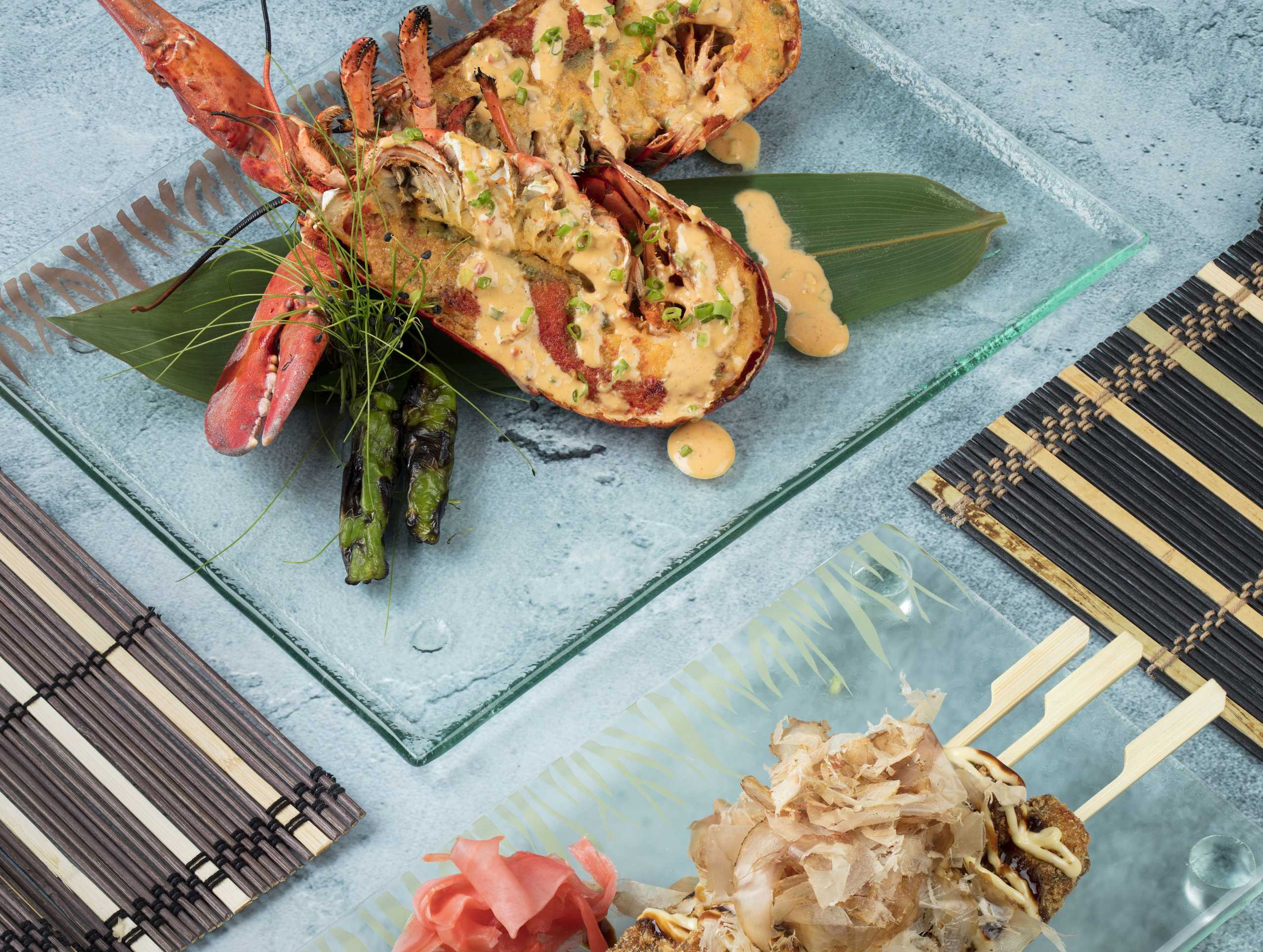 Palms Café and Bar Baked lobster with spicy lemon garlic sause, Beef agemono with kewpie mayo and katsuobushi