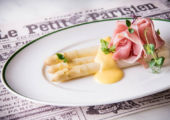 Warm white asparagus and Vendée cured ham, white wine sabayon gourmay