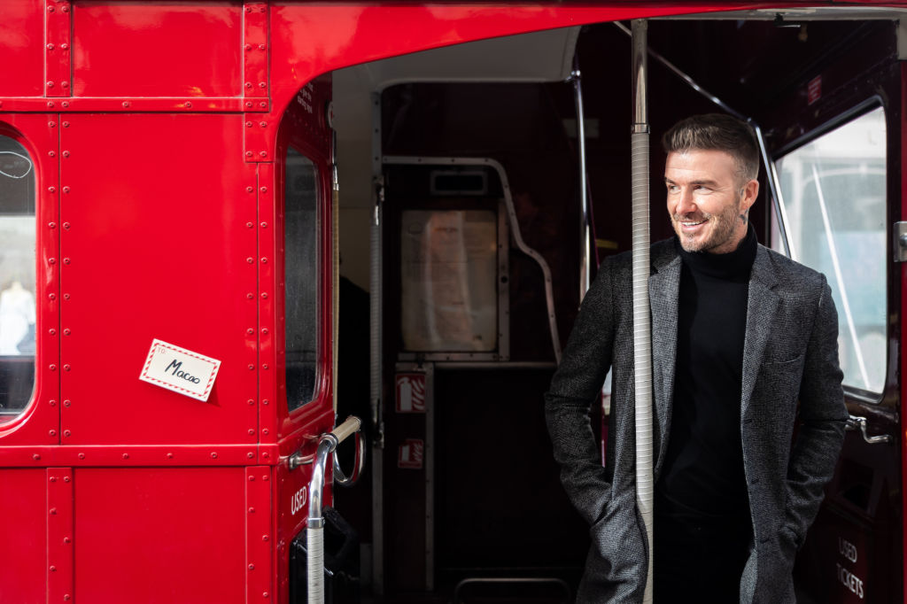 David Beckham in London bus