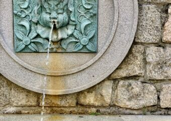 Lilau Square Fountain Detail Vertical Pouring Water Macau Lifestyle