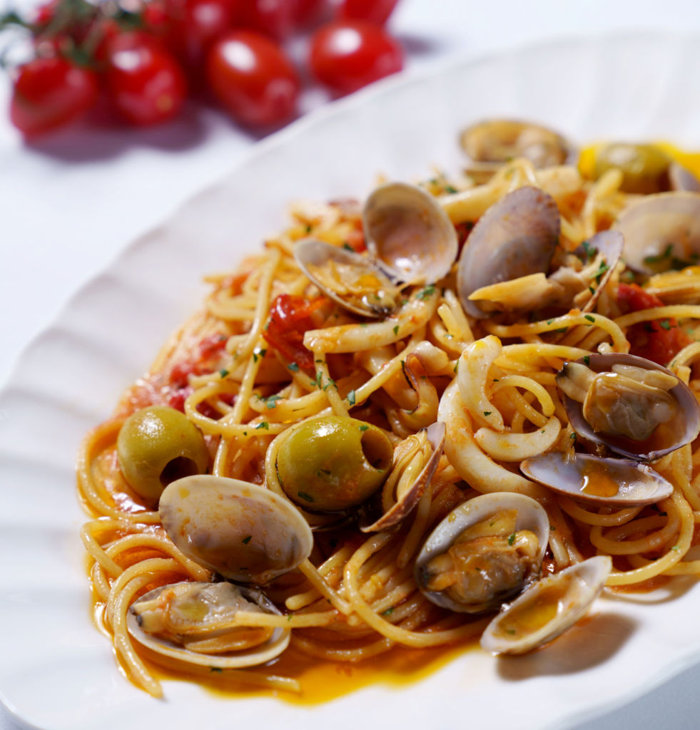hong kong hot tables june Trattoria Spaghetti with Clams, Cuttlefish and Italian Olives
