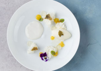 Yoghurt sponge with yuzu sorbet and caramel fish chip